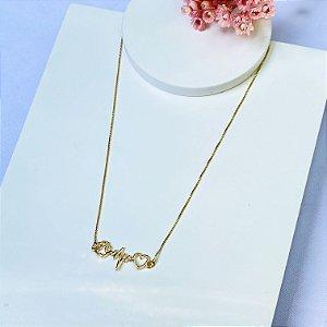 colar pet love dourado