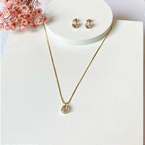 conjunto gota mini cristal dourado