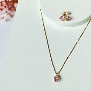 conjunto gota mini rosa dourado