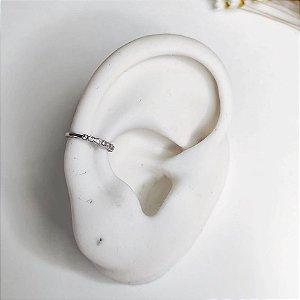 piercing de pressão ondulado cristal prata