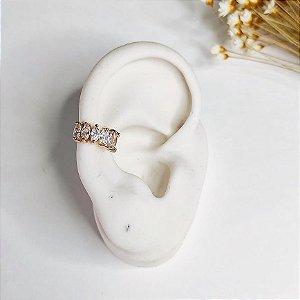 piercing de pressão pedras cristal dourado