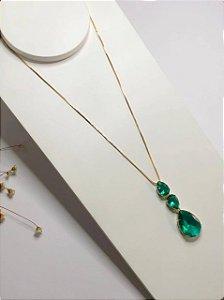 Colar gotas de luxo esmeralda dourado