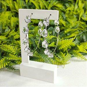 Argola Belle cristal prata