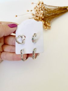kit 2 argolinhas coração zircônias coloridas prata