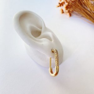 Brinco retangular fashion cravejado dourado