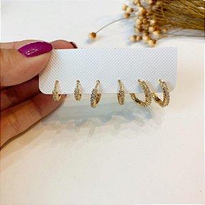kit de argolas cristal cravejada dourado