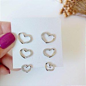 kit trio de corações vazados prata