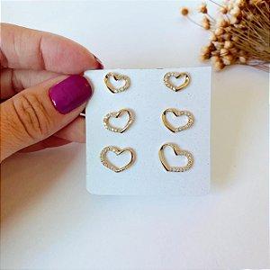 kit trio de corações vazados dourado
