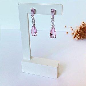 Brinco fest luxury gotas rosa prata