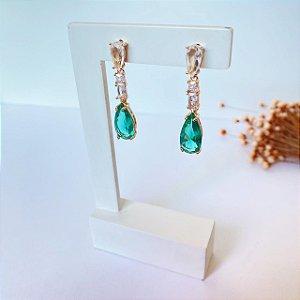 Brinco fest luxury gotas cristal e turmalina dourado