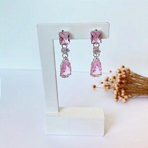Brinco glam fest rosa prata