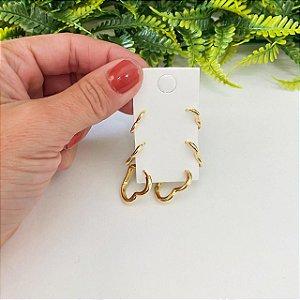 Kit de brincos Trio de argolinhas corações lisos dourado