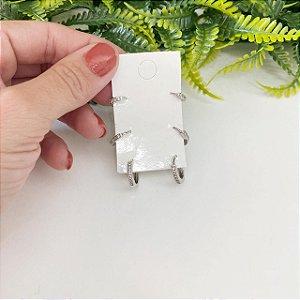 Kit de brincos trio de argolinhas cravejado prata