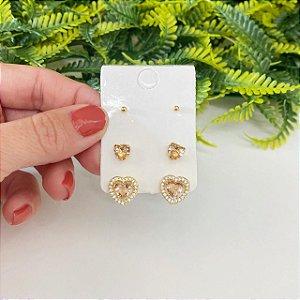Kit de brincos coração pêssego cravejado, coração Mini e bolinha dourada