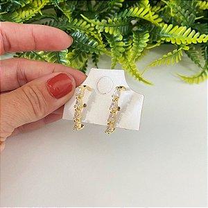 Ear hook Zirconias Cristal em gota dourado