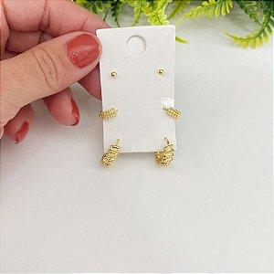 kit de brincos argolinhas texturizadas e bolinha dourado