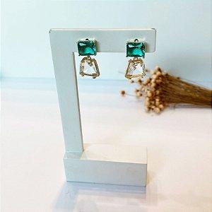 Brinco quadradinhos zircônia turmalina e cristal dourado