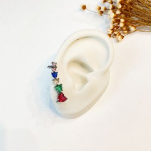 Brinco Ear Cuff colorido zircônias prata