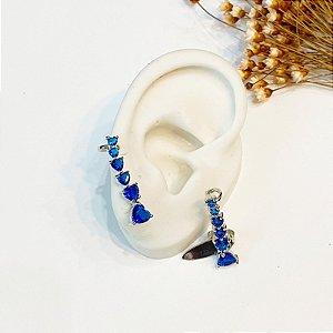 Brinco Ear Cuff azul zircônias prata