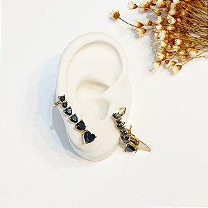 Brinco Ear Cuff black zircônias dourado