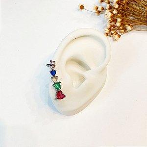 Brinco Ear Cuff colorido zircônias onix