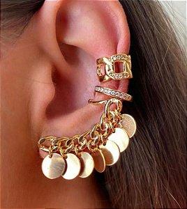 Brinco Ear Cuff Moedas folheado a ouro 18k