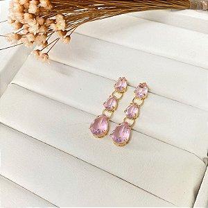 brinco luxury gotas rosa dourado