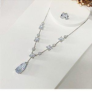 Conjunto de festa gotinha e pedrarias cristal prata
