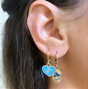 Argola Mini Coração Esmaltado Fé Céu Azul Dourado