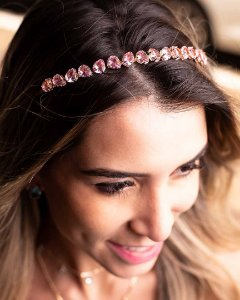 Tiara Gotinha Intercalada Rosa Dourada