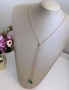 Colar Gravatinha Gotas Esmeralda Dourado