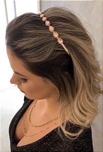 Tiara Gotinha Rosa Nude Dourada