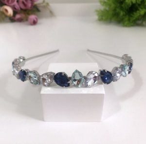 Tiara Gota Mix Blue Prata