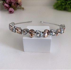Tiara Gota Nude Cristal Prata