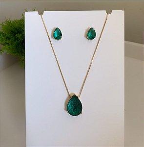 Conjunto Gota Cristalizada Esmeralda Dourado