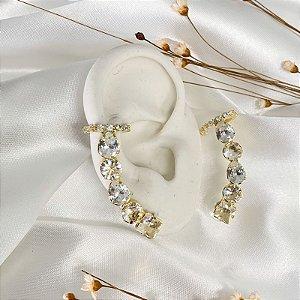 Ear Cuff com Piercing Fake Cristal Dourado