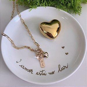 Colar Cartier Fé Pêssego Dourado