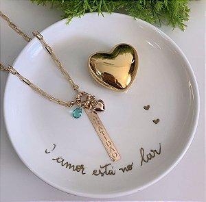 Colar Cartier Gratidão Verde Turmalina Dourado