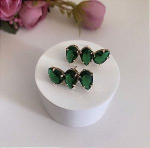 Ear Cuff Mini Gotas Esmeralda Dourado