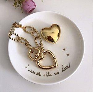 Pulseira Corrente Elo Coração Dourado