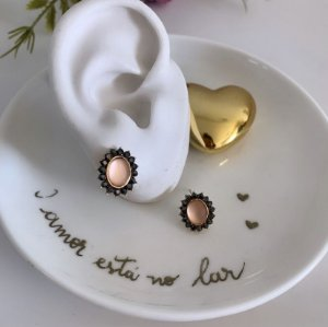 Brinco Mini Oval Rose Dourado