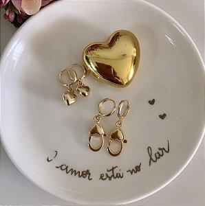 Argola Mini Dupla Mosquetão Coração Dourado