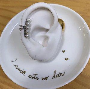 Piercing de Pressão Ear Pérolas Prata