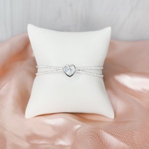 Bracelete Coração Cristal Prata
