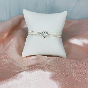 Bracelete Coração Cristal Dourado