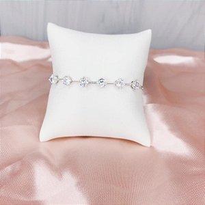 Pulseira Ponto de Luz Cristal Prata