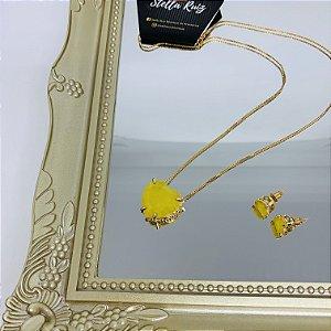 Conjunto Maxi Coração Yellow Dourado