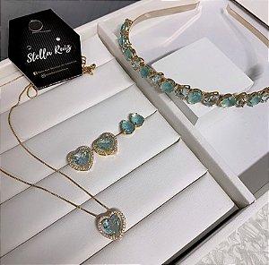 Kit 1 Conjunto Tiara de Luxo Tifany e Brinco Gotinha Dourado, 1 Conjunto Coração Brilhante Azul Dourado