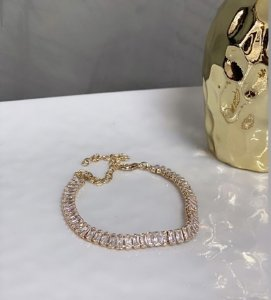 Pulseira Elegancy Zircônia Cristal Dourada