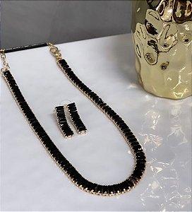 Conjunto Chocker e Brinco Elegancy Zircônia Preto Dourado